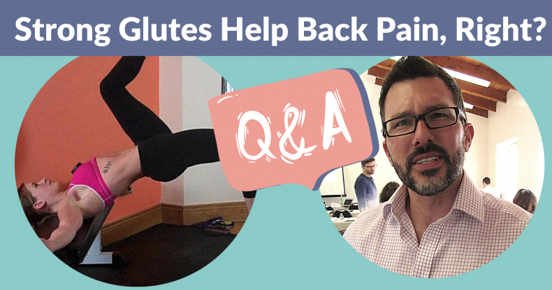Thumbnail of co-hosts Marianne Kane and Jonathan Fass - TRUE OR FALSE Strong Glutes Fix Back Pain or prevent back pain